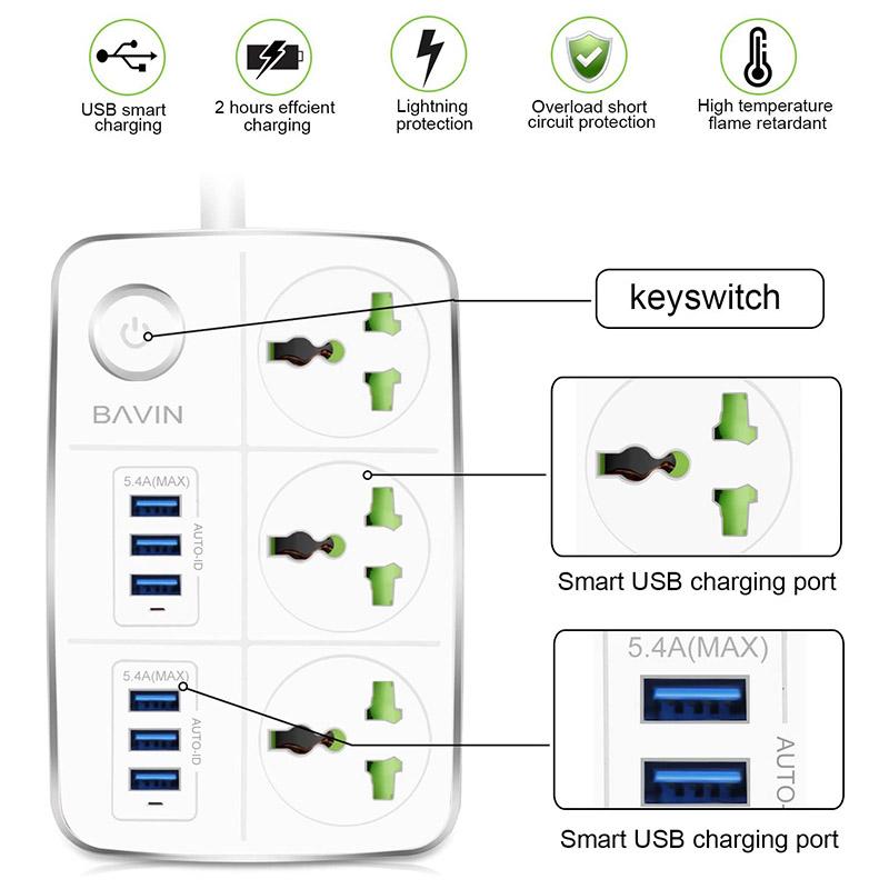 سه راهی برق و شارژ باوین Bavin PC588 Power Strip
