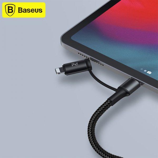کابل دو سر لایتنینگ و تایپ سی شارژ سریع بیسوس Baseus Twins 2in1 USB Typ C PD - USB Typ C CATLYW-H01