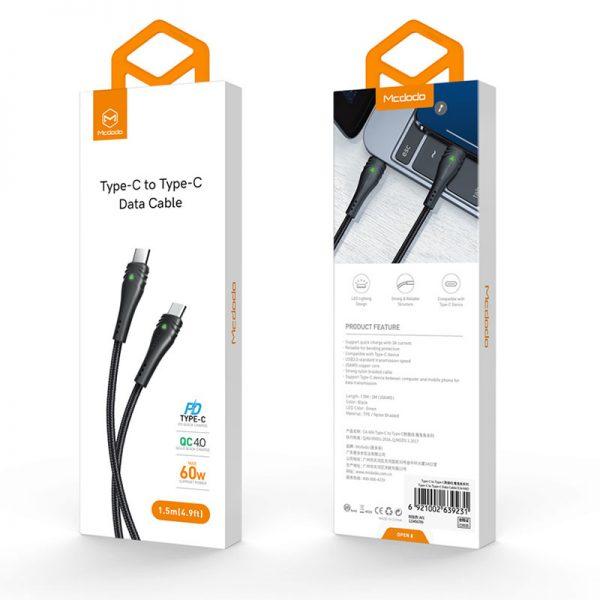 کابل تایپ سی به تایپ سی مک دودو MCDODO CA-6660 3A Type-C to Type-C Cable