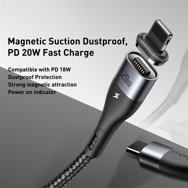 کابل آهنربایی لایتنینگ به تایپ سی بیسوس Baseus Zinc Magnetic Safe Fast Charging