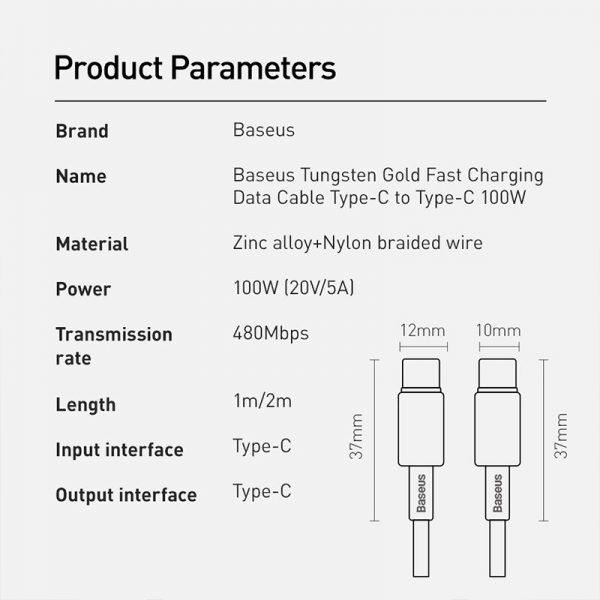 کابل Type C به Type C فست شارژ بیسوس Baseus Tungsten Gold PD QC4 CATWJ-01
