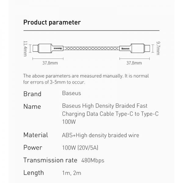 کابل Type C به Type C فست شارژ بیسوس Baseus Density QC4 CATGD-01 / 02 / 03