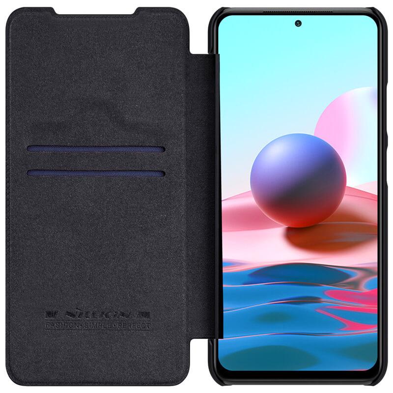 کیف چرمی نیلکین شیائومی Xiaomi Redmi note 10 4G Nillkin Qin Leather Case