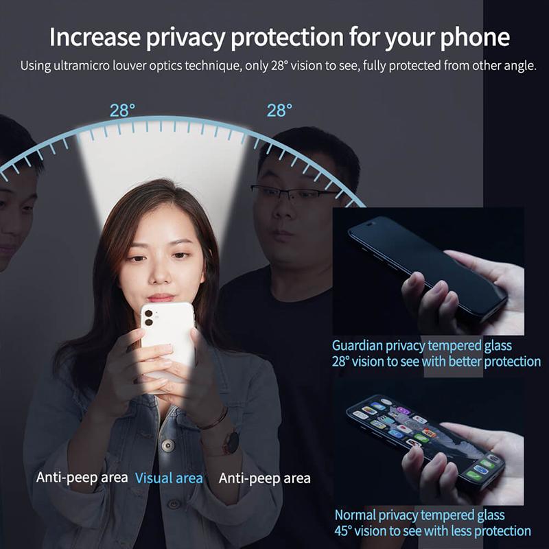 گلس نیلکین حریم شخصی آیفون 13 پرو مکس Nillkin iPhone 13 Pro Max Guardian privacy tempered glass
